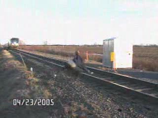 Guy Almost Hit by Train