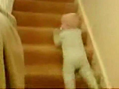 Baby Sliding Down Stairs