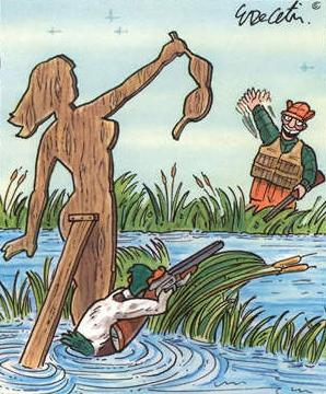 This duck hunting the hunter.
