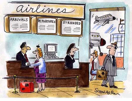Airlines arrivals, departures and stranded.