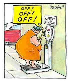 This woman try the weight and fortune scales.