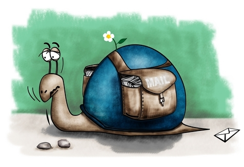 Funny picture of snail mailman.