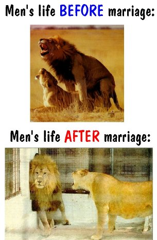 A representation of what a mans life is before and after marriage.