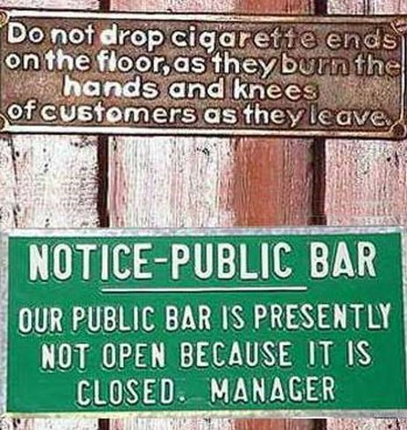 Funny signs from a public bar.