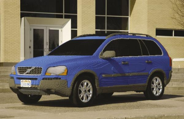 A cool SUV made of lego blocks.