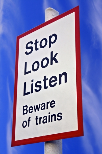 Funny Beware of Trains Sign.