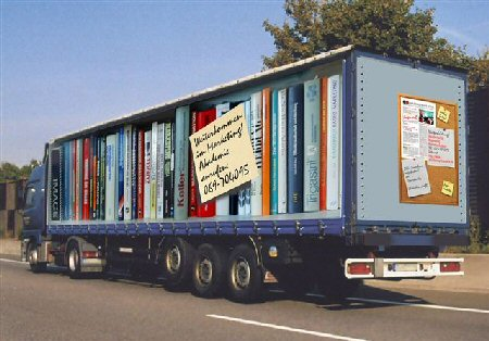 Truck with a bookshelf design.