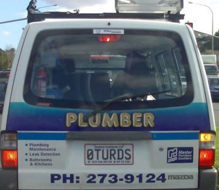 Funny plumber car plates.