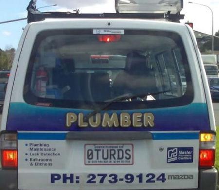 Funny plumber car plates.