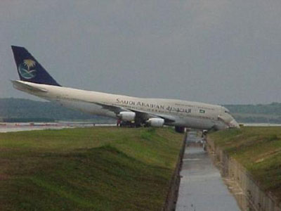 Airplane landing way off the runway.