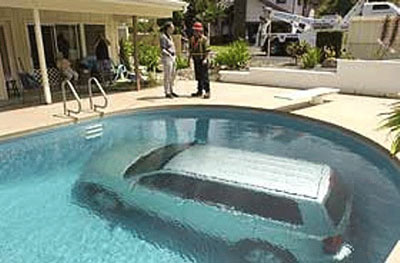 The problem is how the car made its way into the pool.