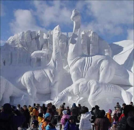 Huge dinosaur ice sculpture.